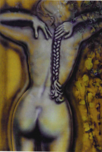 Volker Bussmann Künstler Spritzfrottage Akt Kunst Nude Relief Heike Mit Zopf