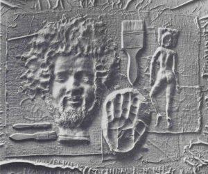 Volker Bussmann Künstler Kunst Relief Künstlerkopf Hand Pinsel Model