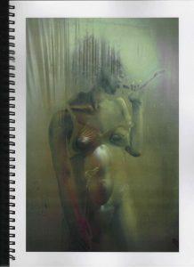 Volker Bussmann Künstler Akt Making Of Spritzfrottage Technik Nude Studio 18