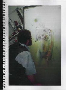 Volker Bussmann Künstler Akt Making Of Spritzfrottage Technik Nude Studio 19
