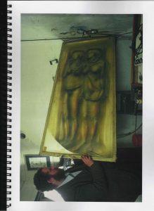 Volker Bussmann Künstler Akt Making Of Spritzfrottage Technik Pupe Vera 19