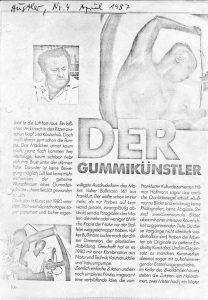 Volker Bussmann Künstler Galerie Gummikünstler Presse Artikel Hustler Seite 1